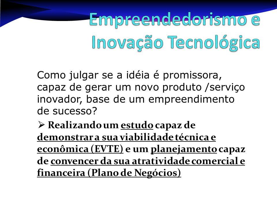 Como julgar se a idéia é promissora, capaz de gerar um novo produto /serviço inovador, base de um empreendimento de sucesso? Realizando um estudo capa