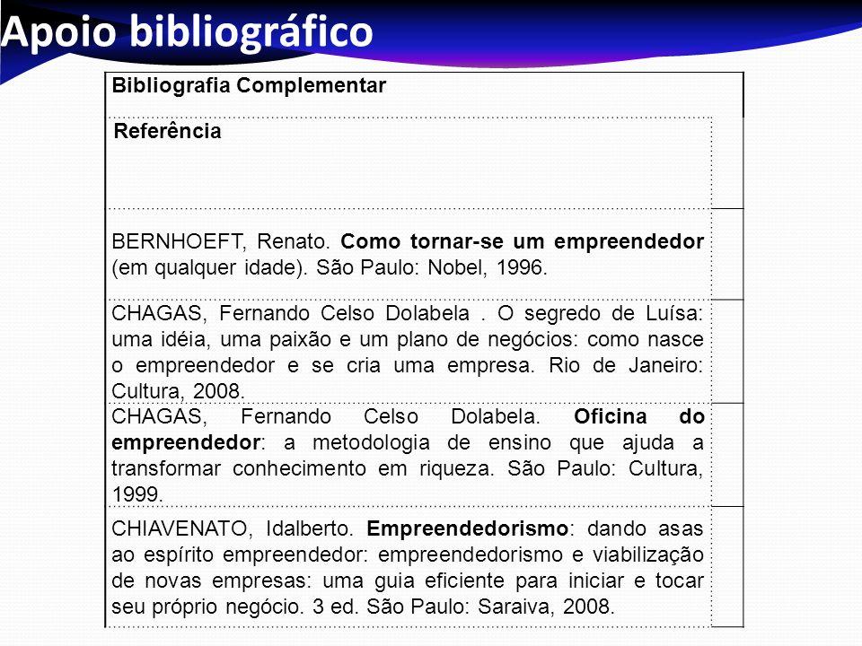 Apoio bibliográfico Bibliografia Complementar Referência BERNHOEFT, Renato.