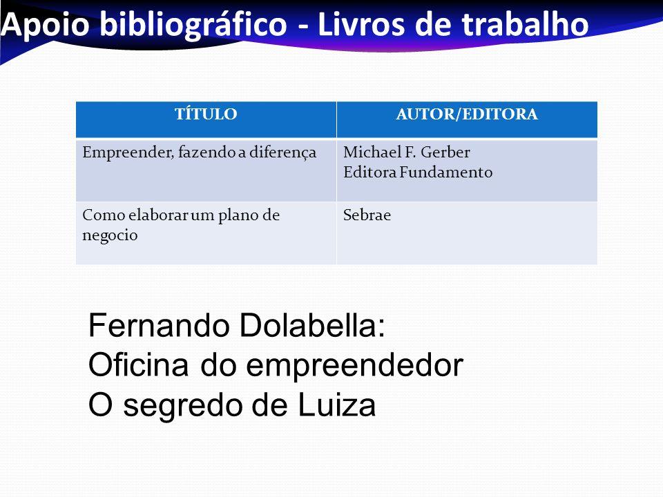 Apoio bibliográfico - Livros de trabalho TÍTULOAUTOR/EDITORA Empreender, fazendo a diferençaMichael F.