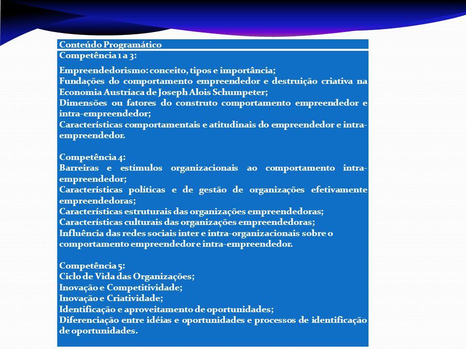 Conteúdo Programático Competência 1 a 3: Empreendedorismo: conceito, tipos e importância; Fundações do comportamento empreendedor e destruição criativa na Economia Austríaca de Joseph Alois Schumpeter; Dimensões ou fatores do construto comportamento empreendedor e intra-empreendedor; Características comportamentais e atitudinais do empreendedor e intra- empreendedor.