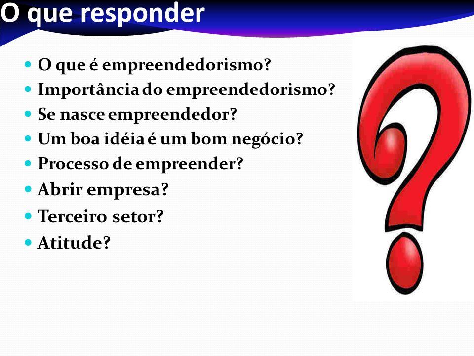 O que responder O que é empreendedorismo.Importância do empreendedorismo.