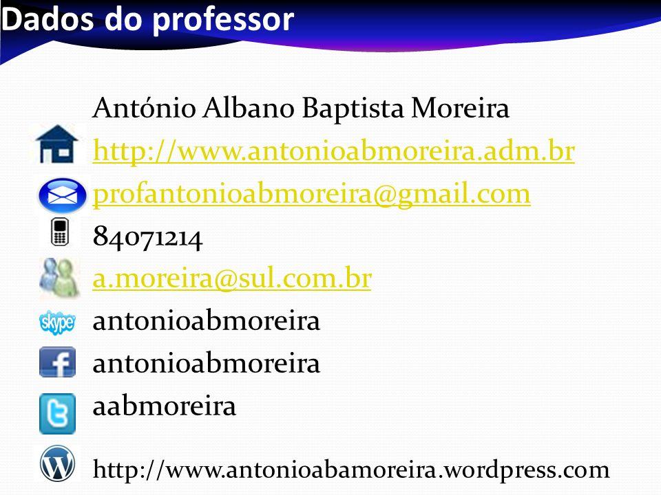 Dados do professor António Albano Baptista Moreira http://www.antonioabmoreira.adm.br profantonioabmoreira@gmail.com 84071214 a.moreira@sul.com.br antonioabmoreira aabmoreira http://www.antonioabamoreira.wordpress.com