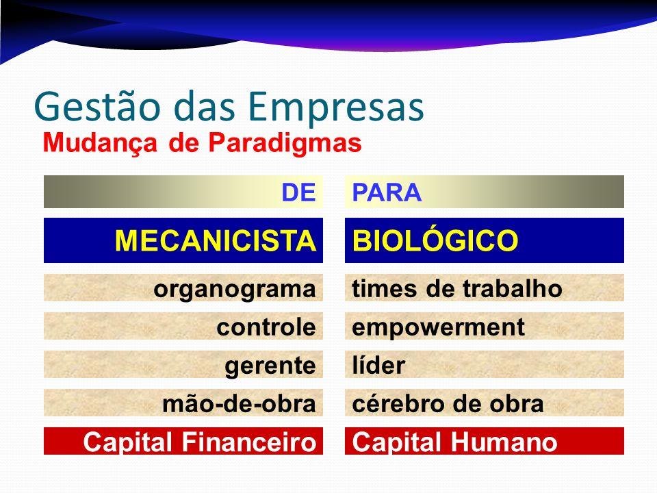 BIOLÓGICOMECANICISTA times de trabalhoorganograma empowermentcontrole lídergerente cérebro de obramão-de-obra Capital HumanoCapital Financeiro Gestão das Empresas Mudança de Paradigmas PARADE