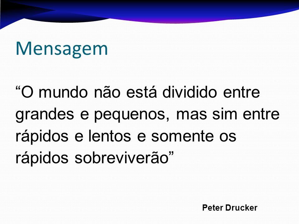 Mensagem O mundo não está dividido entre grandes e pequenos, mas sim entre rápidos e lentos e somente os rápidos sobreviverão Peter Drucker