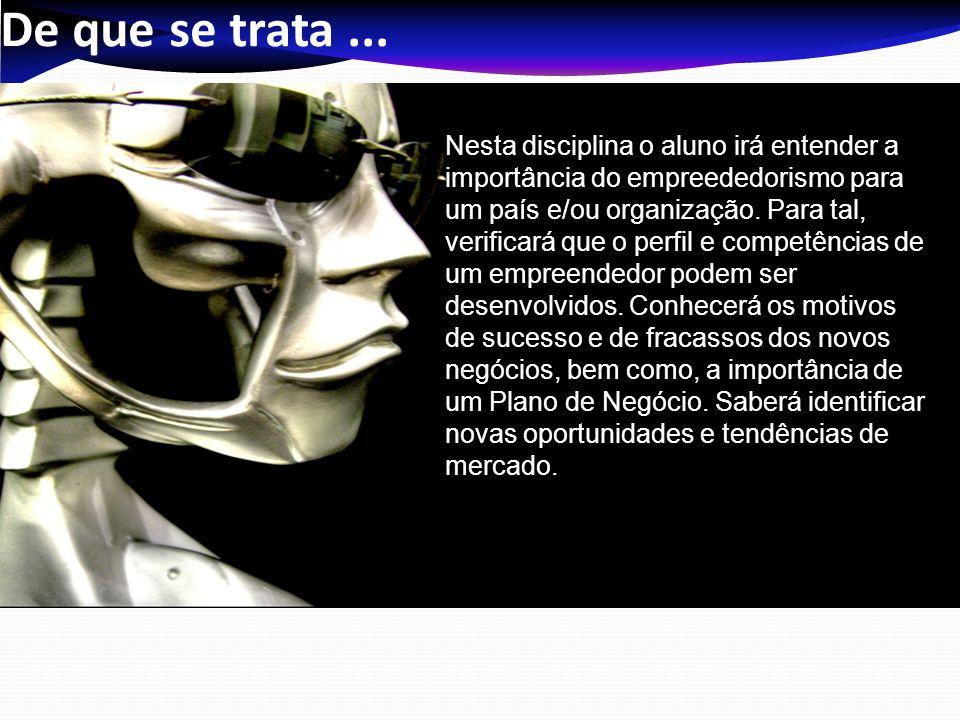 Competências NºDescriçãoNível 01 Entender o conceito de empreendedorismo, sua tipologia, bem como, importância econômica para um país e inovadora para as empresas.
