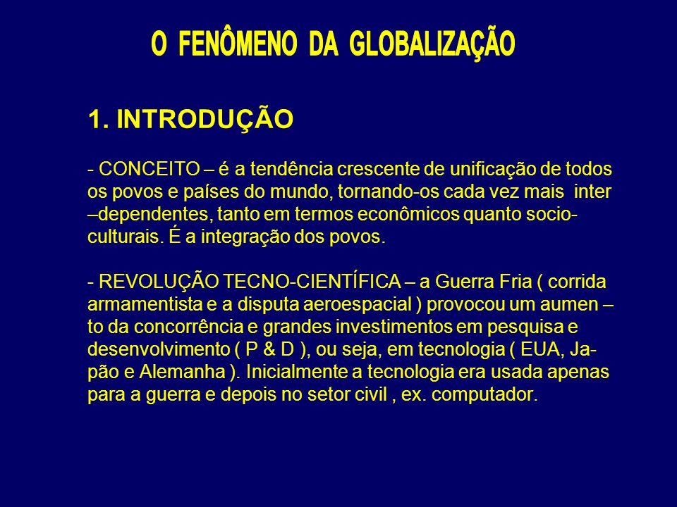 1. INTRODUÇÃO - CONCEITO – é a tendência crescente de unificação de todos os povos e países do mundo, tornando-os cada vez mais inter –dependentes, ta