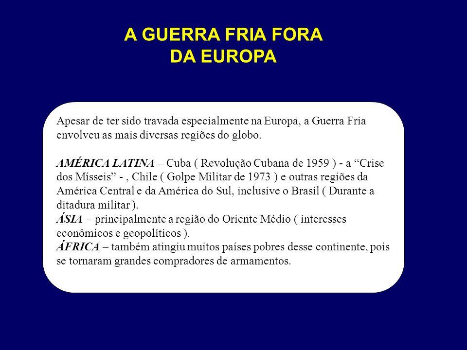 A GUERRA FRIA FORA DA EUROPA Apesar de ter sido travada especialmente na Europa, a Guerra Fria envolveu as mais diversas regiões do globo. AMÉRICA LAT