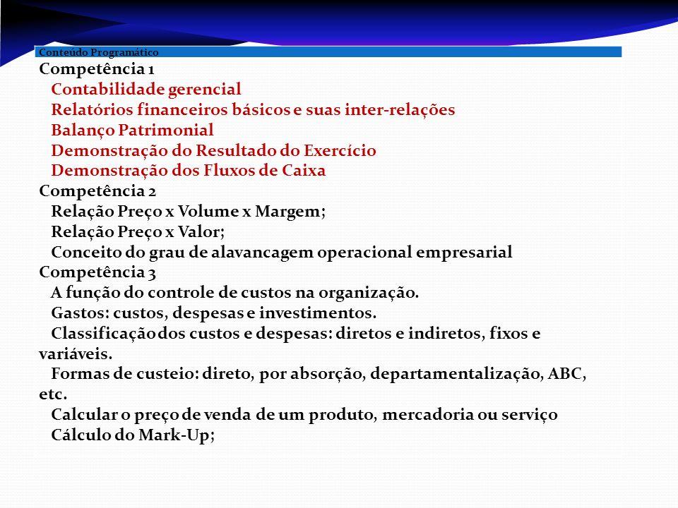 Conteúdo Programático Competência 1  Contabilidade gerencial  Relatórios financeiros básicos e suas inter-relações  Balanço Patrimonial  Demonstra