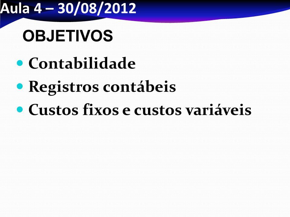 Aula 4 – 30/08/2012 Contabilidade Registros contábeis Custos fixos e custos variáveis OBJETIVOS