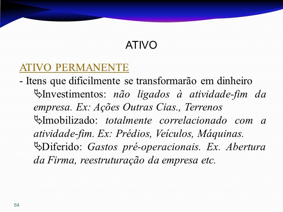64 ATIVO ATIVO PERMANENTE - Itens que dificilmente se transformarão em dinheiro Investimentos: não ligados à atividade-fim da empresa. Ex: Ações Outra