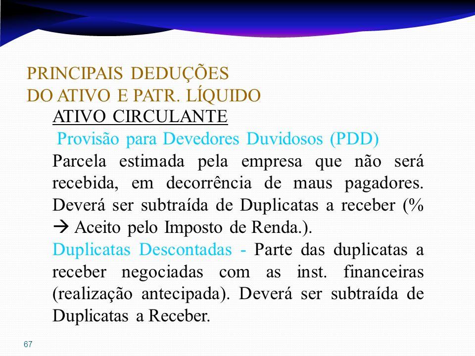67 PRINCIPAIS DEDUÇÕES DO ATIVO E PATR. LÍQUIDO ATIVO CIRCULANTE Provisão para Devedores Duvidosos (PDD) Parcela estimada pela empresa que não será re