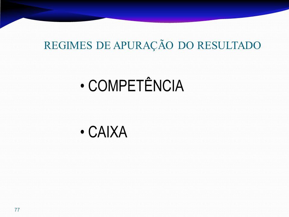 77 REGIMES DE APURAÇÃO DO RESULTADO COMPETÊNCIA CAIXA
