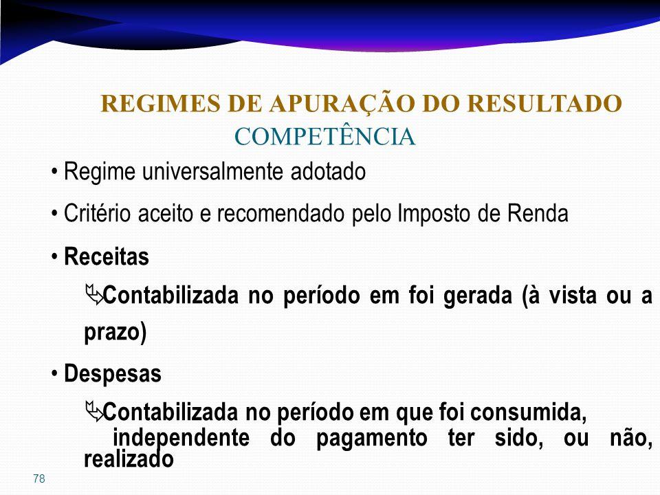 78 REGIMES DE APURAÇÃO DO RESULTADO COMPETÊNCIA Regime universalmente adotado Critério aceito e recomendado pelo Imposto de Renda Receitas Contabiliza