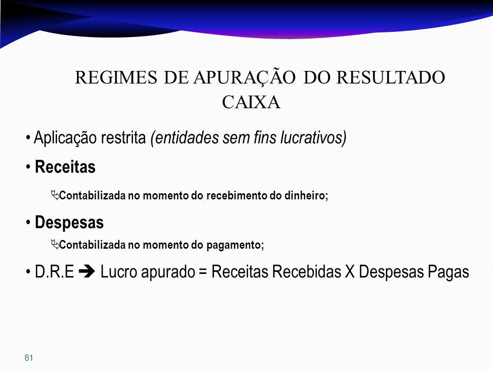 81 REGIMES DE APURAÇÃO DO RESULTADO CAIXA Aplicação restrita (entidades sem fins lucrativos) Receitas Contabilizada no momento do recebimento do dinhe