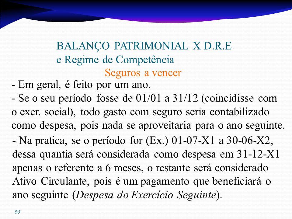 86 BALANÇO PATRIMONIAL X D.R.E e Regime de Competência Seguros a vencer - Em geral, é feito por um ano. - Se o seu período fosse de 01/01 a 31/12 (coi