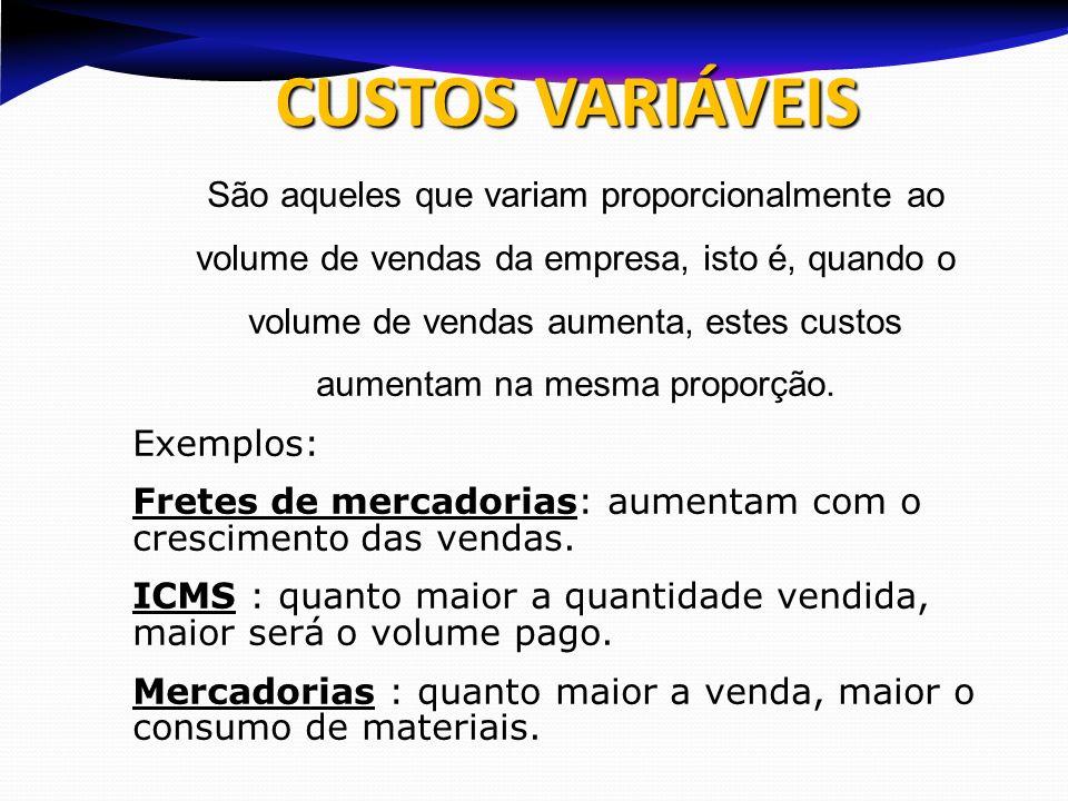 CUSTOS VARIÁVEIS São aqueles que variam proporcionalmente ao volume de vendas da empresa, isto é, quando o volume de vendas aumenta, estes custos aume