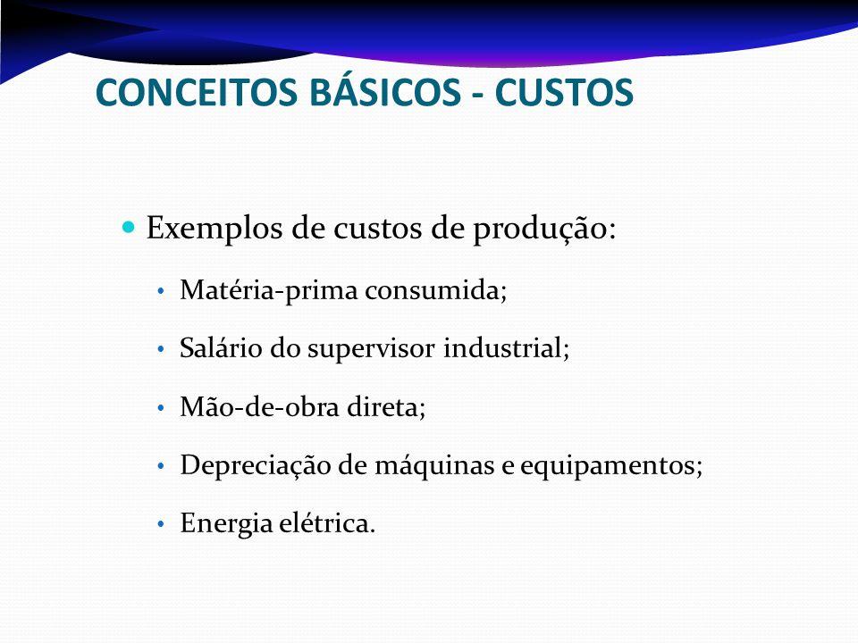 CONCEITOS BÁSICOS - CUSTOS Exemplos de custos de produção: Matéria-prima consumida; Salário do supervisor industrial; Mão-de-obra direta; Depreciação