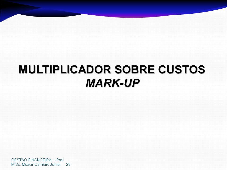 GESTÃO FINANCEIRA – Prof. M.Sc. Moacir Carneiro Junior 29 MULTIPLICADOR SOBRE CUSTOS MARK-UP