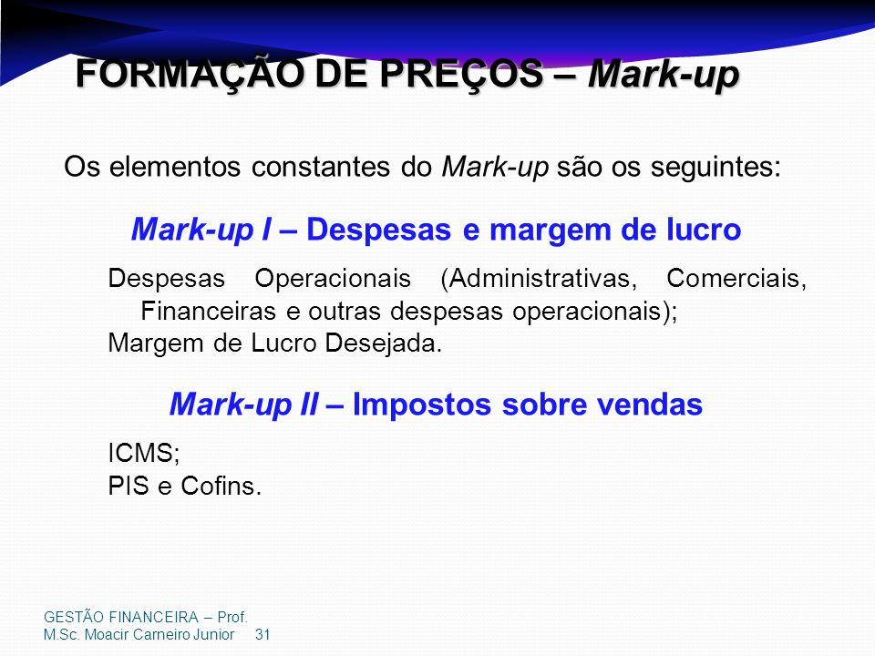 GESTÃO FINANCEIRA – Prof. M.Sc. Moacir Carneiro Junior 31 FORMAÇÃO DE PREÇOS – Mark-up Os elementos constantes do Mark-up são os seguintes: Mark-up I