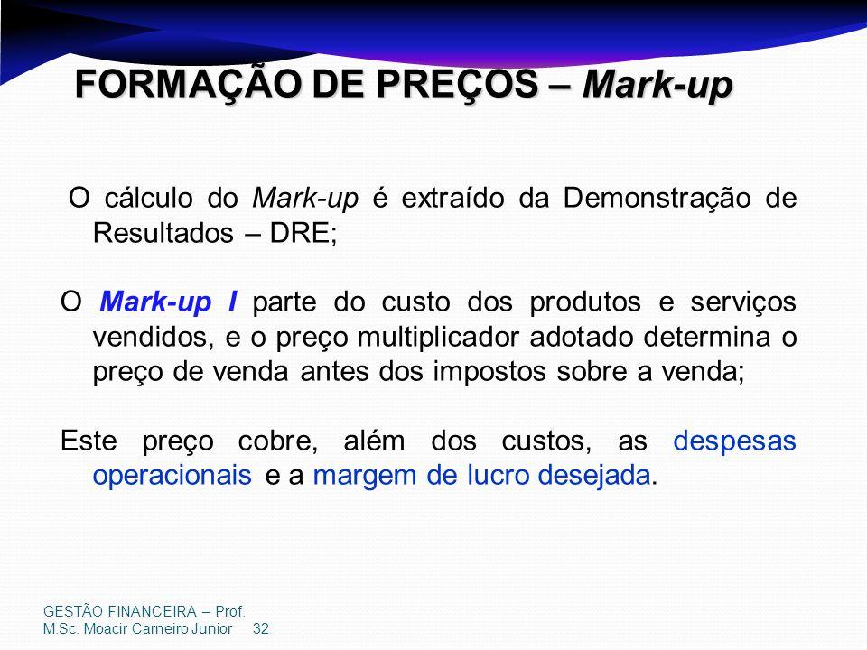 GESTÃO FINANCEIRA – Prof. M.Sc. Moacir Carneiro Junior 32 FORMAÇÃO DE PREÇOS – Mark-up O cálculo do Mark-up é extraído da Demonstração de Resultados –