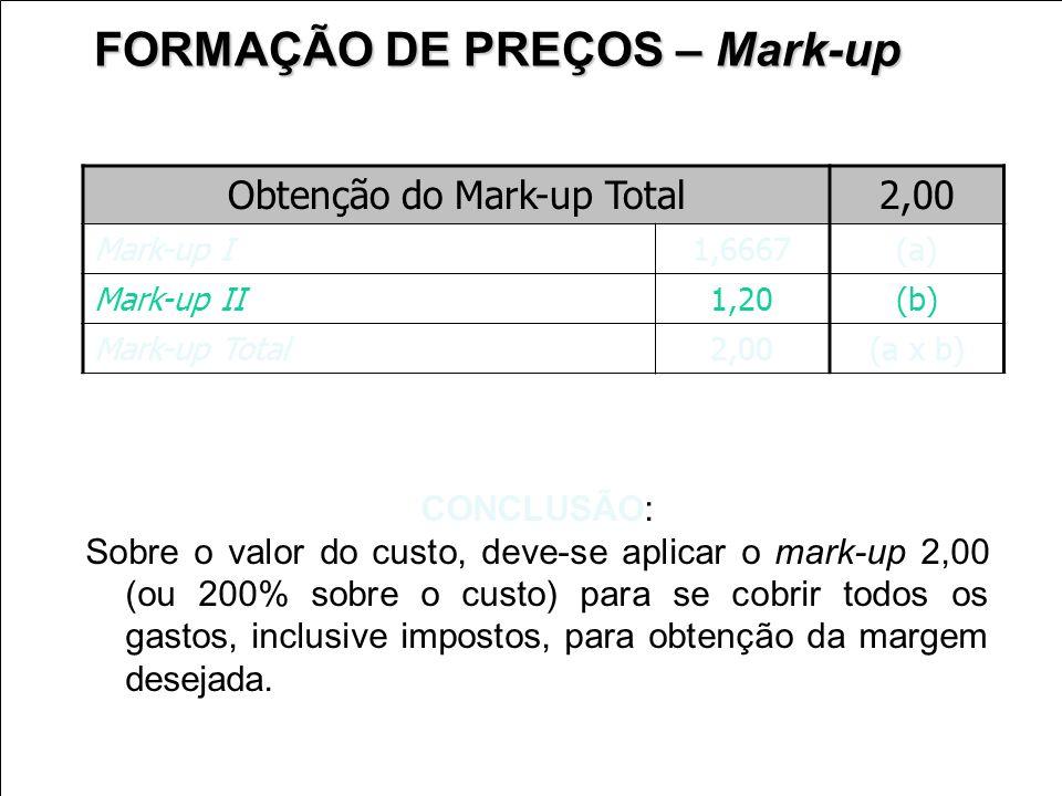 Obtenção do Mark-up Total2,00 Mark-up I1,6667 (a) Mark-up II1,20 (b) Mark-up Total2,00 (a x b) FORMAÇÃO DE PREÇOS – Mark-up CONCLUSÃO: Sobre o valor d