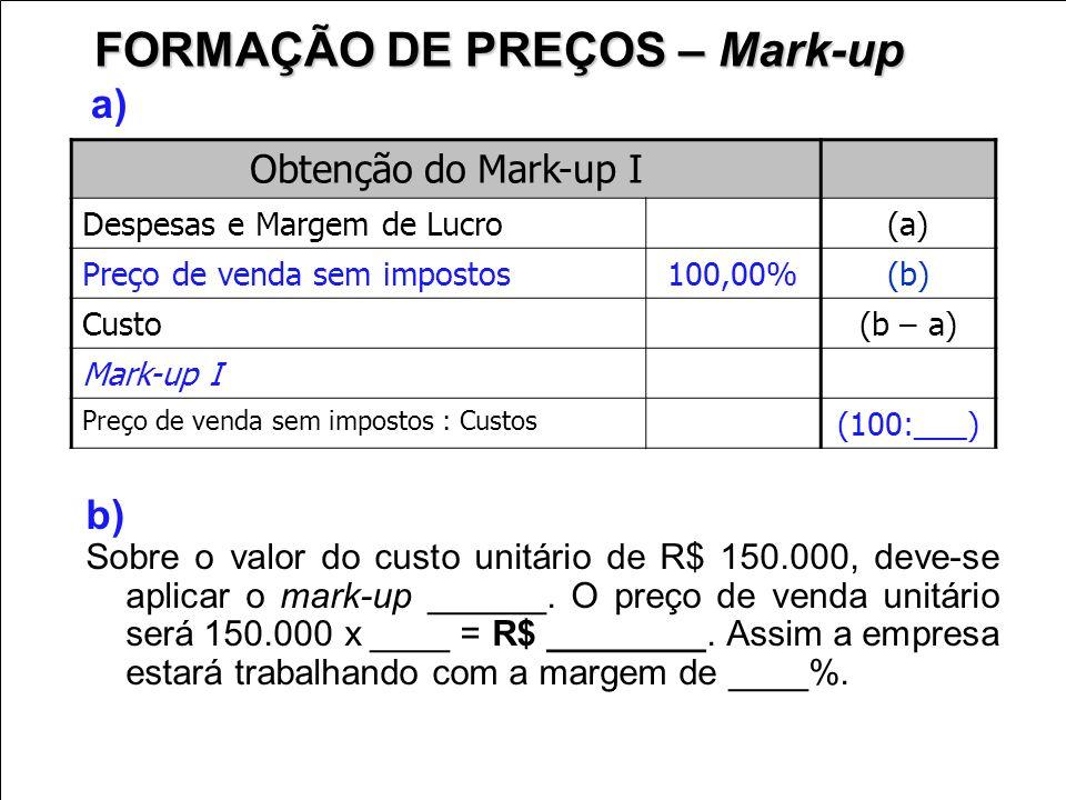 Obtenção do Mark-up I Despesas e Margem de Lucro (a) Preço de venda sem impostos100,00% (b) Custo (b – a) Mark-up I Preço de venda sem impostos : Cust
