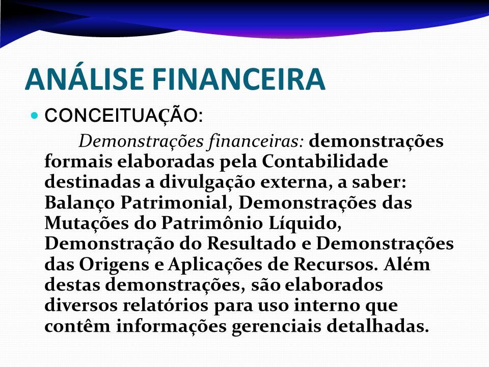 ANÁLISE FINANCEIRA CONCEITUA Ç ÃO: Demonstrações financeiras: demonstrações formais elaboradas pela Contabilidade destinadas a divulgação externa, a s