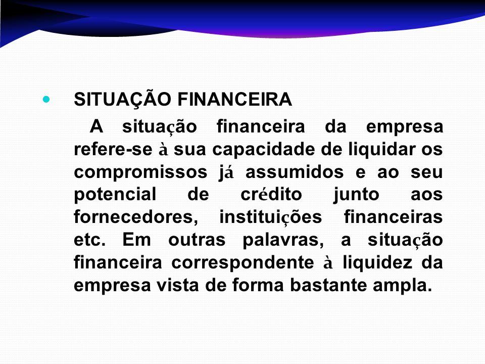SITUAÇÃO FINANCEIRA A situa ç ão financeira da empresa refere-se à sua capacidade de liquidar os compromissos j á assumidos e ao seu potencial de cr é