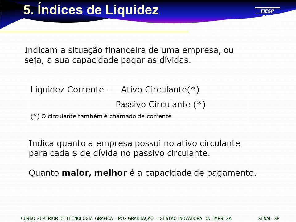 CURSO SUPERIOR DE TECNOLOGIA GRÁFICA – PÓS GRADUAÇÃO – GESTÃO INOVADORA DA EMPRESA GRÁFICA SENAI - SP 5. Índices de Liquidez Indicam a situação financ