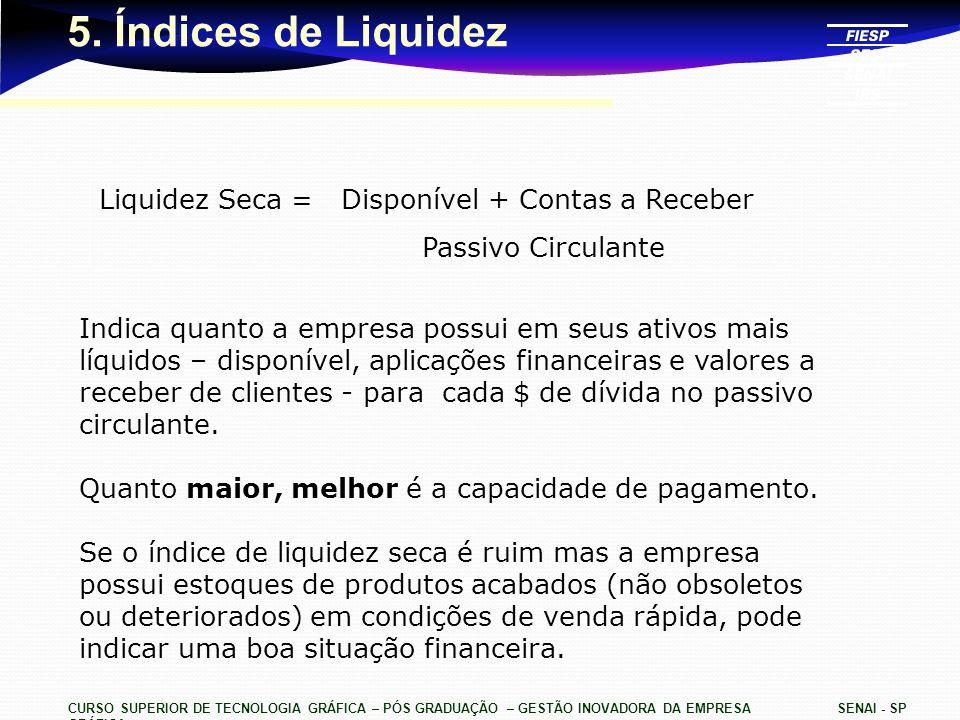 CURSO SUPERIOR DE TECNOLOGIA GRÁFICA – PÓS GRADUAÇÃO – GESTÃO INOVADORA DA EMPRESA GRÁFICA SENAI - SP 5. Índices de Liquidez Liquidez Seca = Disponíve