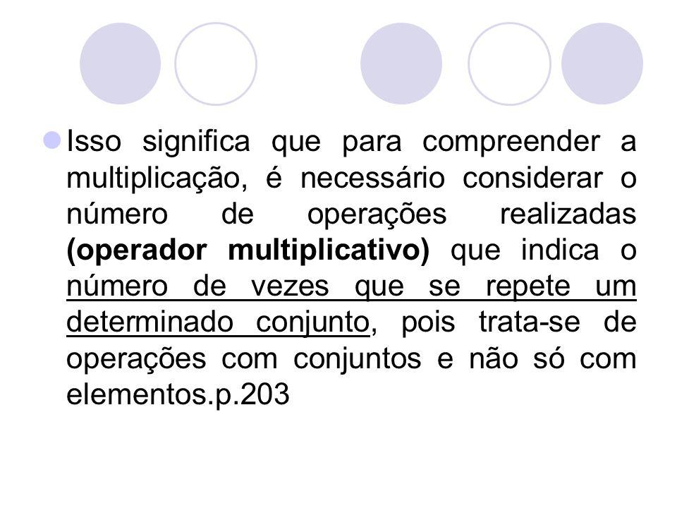 Isso significa que para compreender a multiplicação, é necessário considerar o número de operações realizadas (operador multiplicativo) que indica o n