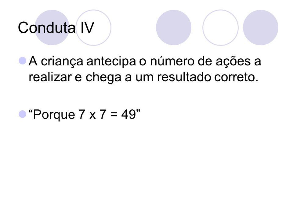 Conduta IV A criança antecipa o número de ações a realizar e chega a um resultado correto. Porque 7 x 7 = 49