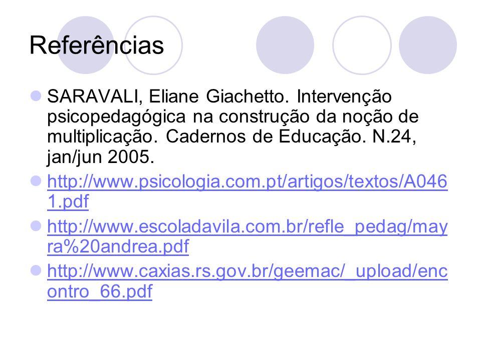 Referências SARAVALI, Eliane Giachetto. Intervenção psicopedagógica na construção da noção de multiplicação. Cadernos de Educação. N.24, jan/jun 2005.