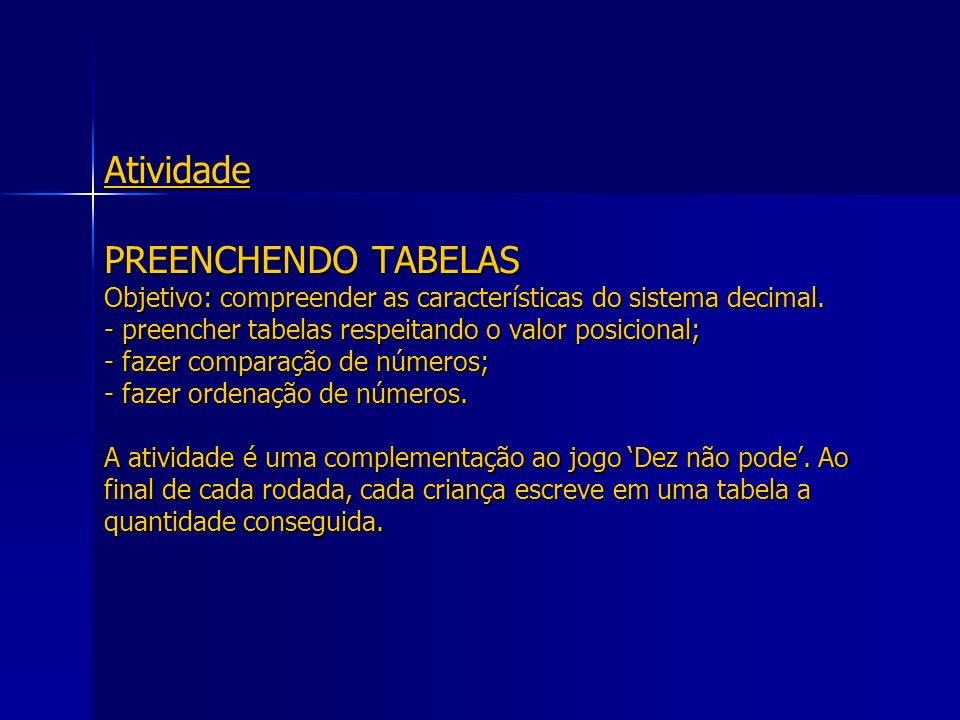 Atividade PREENCHENDO TABELAS Objetivo: compreender as características do sistema decimal. - preencher tabelas respeitando o valor posicional; - fazer