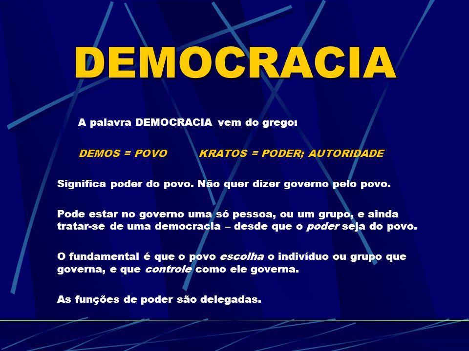 DEMOCRACIA A palavra DEMOCRACIA vem do grego: DEMOS = POVO KRATOS = PODER; AUTORIDADE Significa poder do povo.