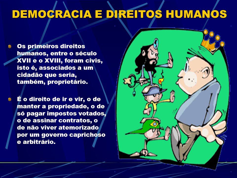 Os primeiros direitos humanos, entre o século XVII e o XVIII, foram civis, isto é, associados a um cidadão que seria, também, proprietário.