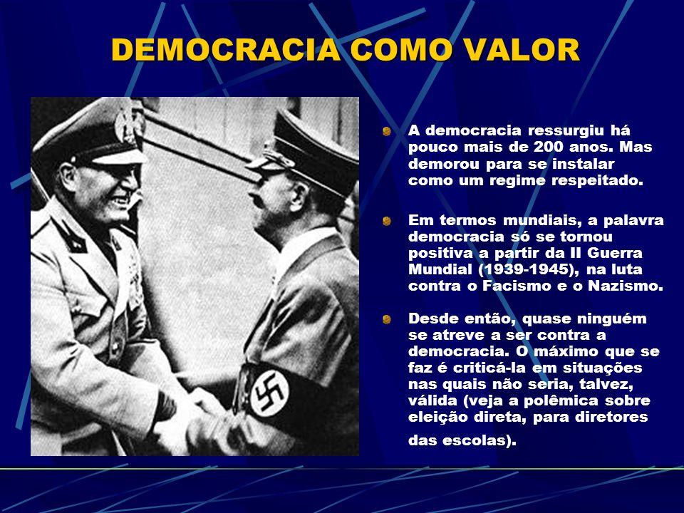 A democracia ressurgiu há pouco mais de 200 anos.