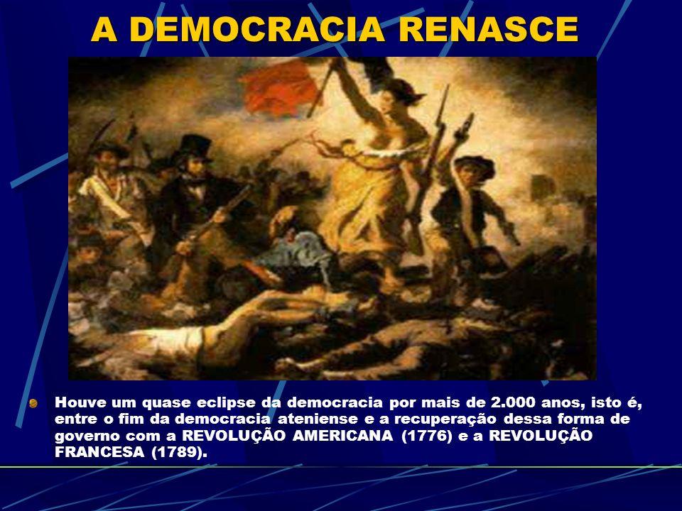 Houve um quase eclipse da democracia por mais de 2.000 anos, isto é, entre o fim da democracia ateniense e a recuperação dessa forma de governo com a REVOLUÇÃO AMERICANA (1776) e a REVOLUÇÃO FRANCESA (1789).