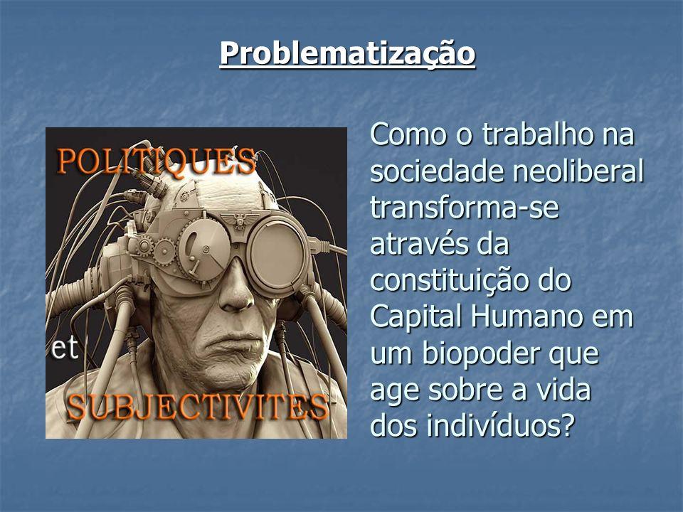 Problematização Como o trabalho na sociedade neoliberal transforma-se através da constituição do Capital Humano em um biopoder que age sobre a vida do