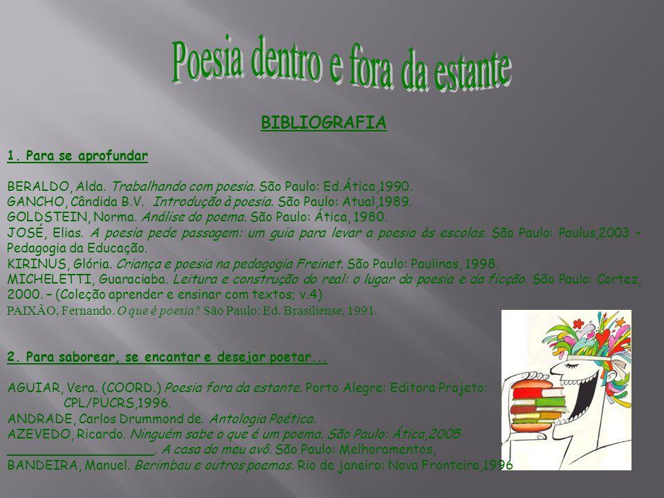 BIBLIOGRAFIA 1. Para se aprofundar BERALDO, Alda. Trabalhando com poesia. São Paulo: Ed.Ática,1990. GANCHO, Cândida B.V. Introdução à poesia. São Paul