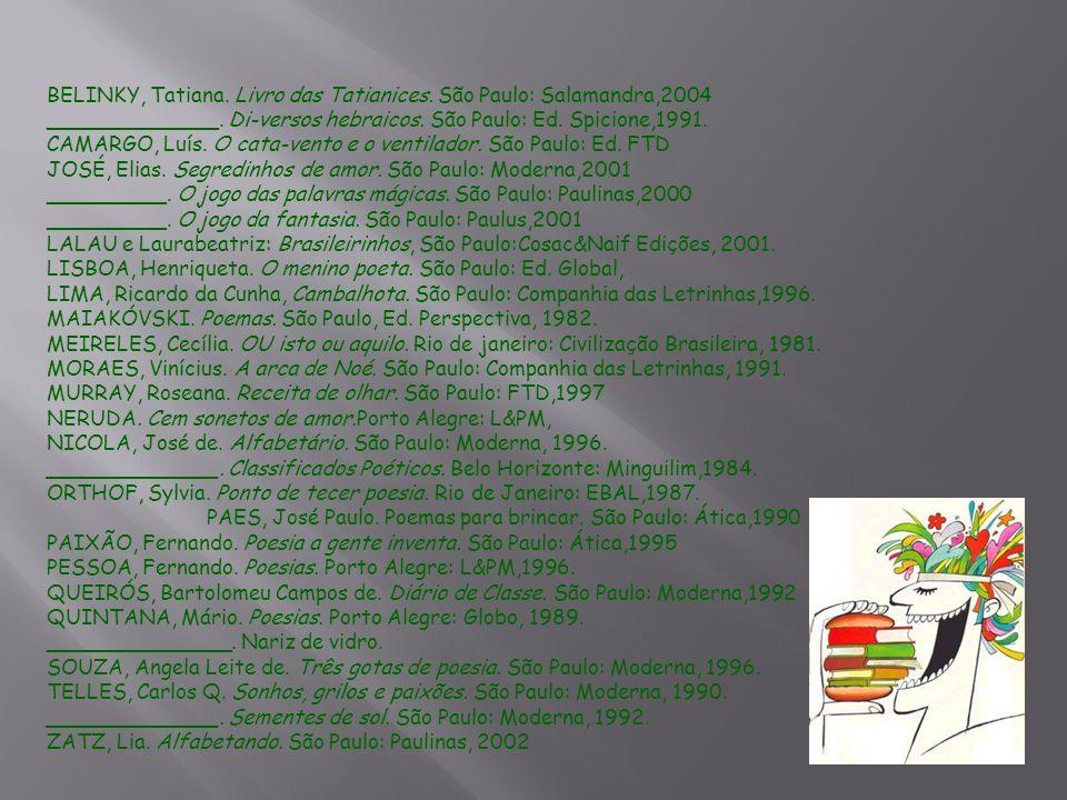 BELINKY, Tatiana. Livro das Tatianices. São Paulo: Salamandra,2004 _____________. Di-versos hebraicos. São Paulo: Ed. Spicione,1991. CAMARGO, Luís. O