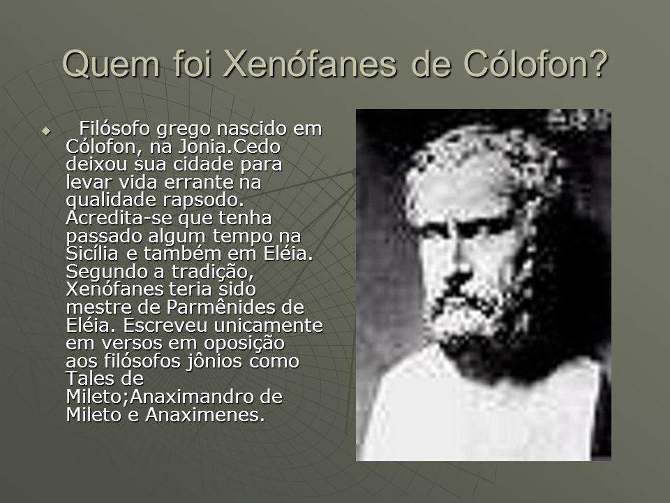 Quem foi Xenófanes de Cólofon.Da sua obra restaram um centena de versos.