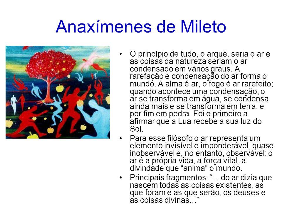 Anaxímenes de Mileto O princípio de tudo, o arqué, seria o ar e as coisas da natureza seriam o ar condensado em vários graus.