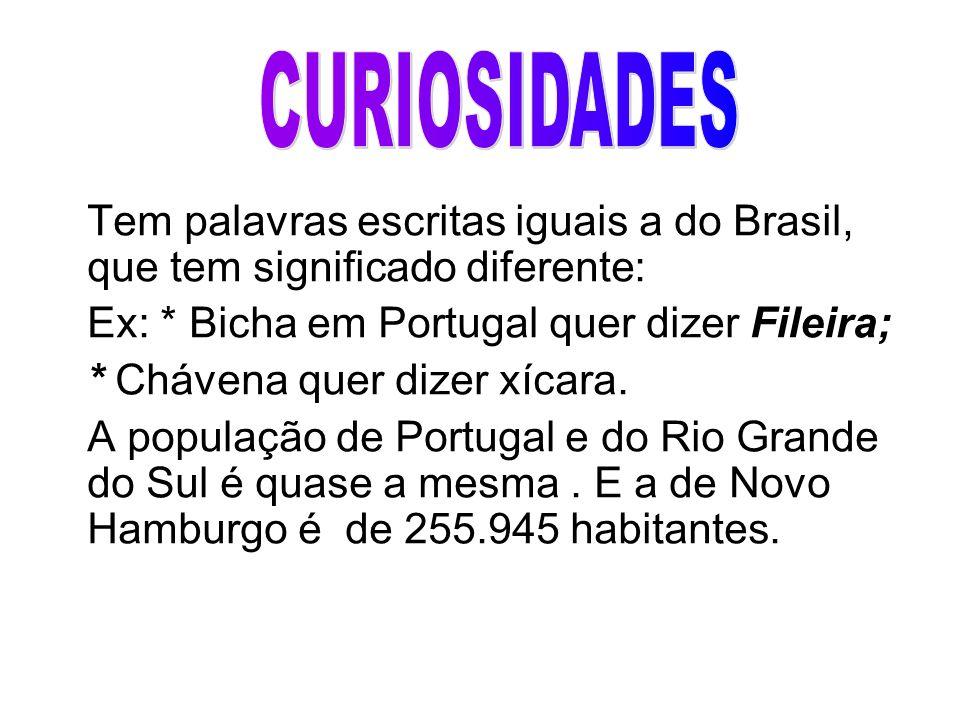 Tem palavras escritas iguais a do Brasil, que tem significado diferente: Ex: * Bicha em Portugal quer dizer Fileira; * Chávena quer dizer xícara. A po