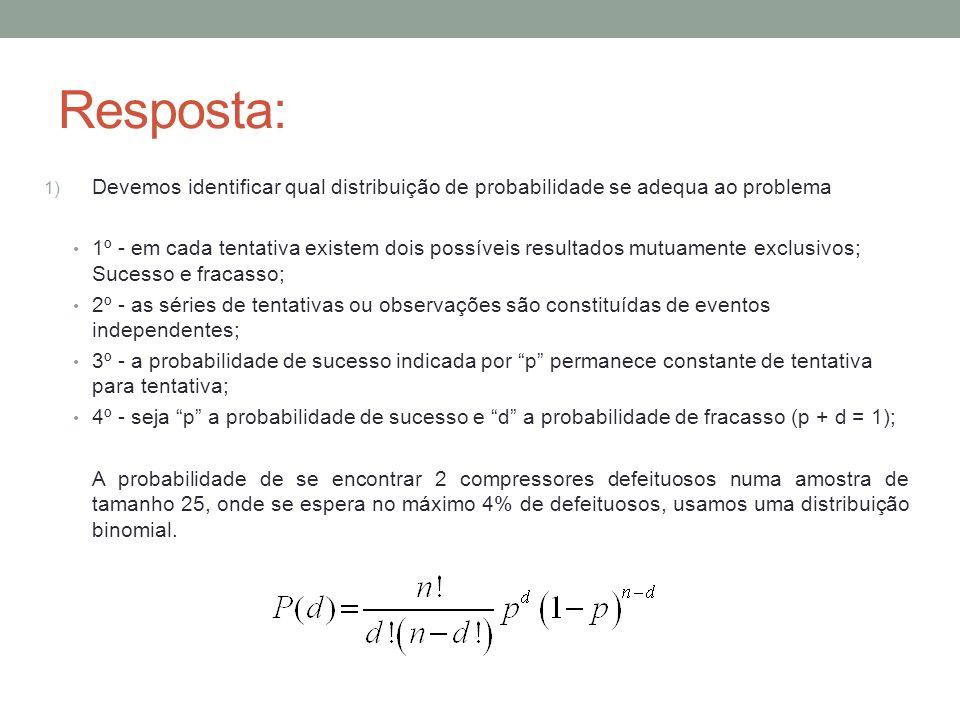 Resposta: 1) Devemos identificar qual distribuição de probabilidade se adequa ao problema 1º - em cada tentativa existem dois possíveis resultados mut