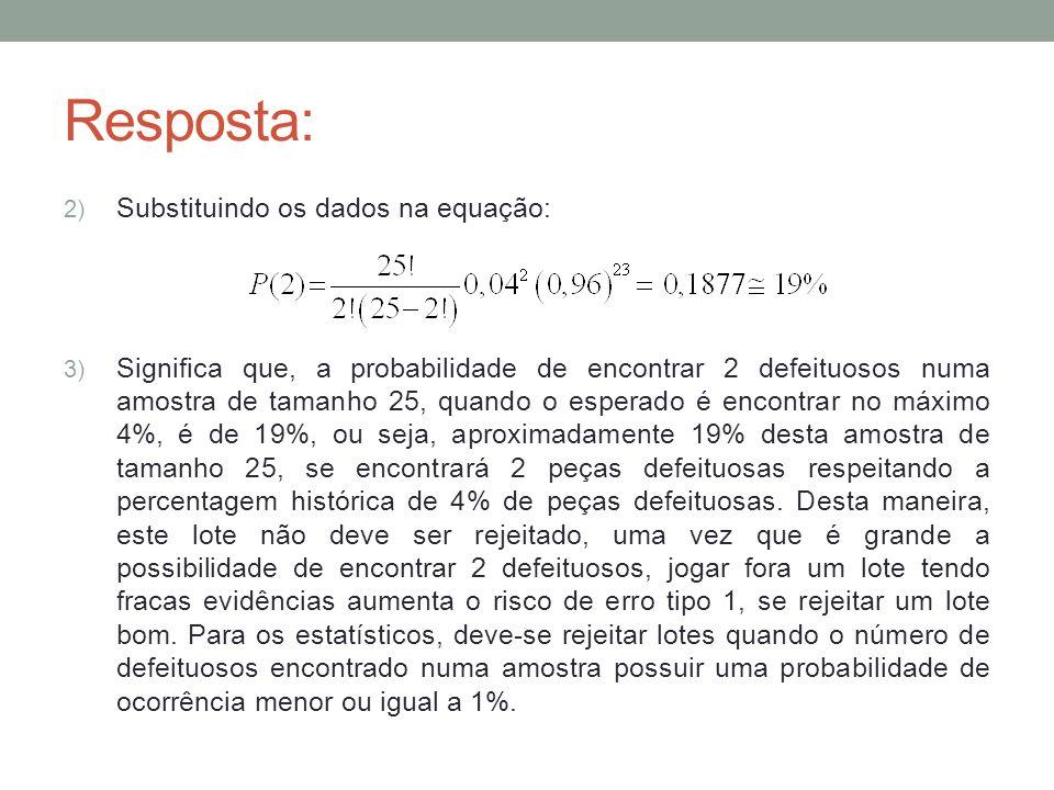Resposta: 4) Utilizando a aproximação por Poisson: Descreve probabilidades do número de ocorrências em um intervalo contínuo; Ex.: defeitos por cm 2, acidentes por dia, clientes por hora, chamadas telefônicas por minuto,...; Obs.: Unidade de medida contínua, mas variável aleatória (nº de ocorrências) discreta; Falhas não contáveis (impossível medir defeitos que não ocorreram); Sempre que n > 30 e (n x p) < 5, usa-se a aproximação por Poisson de probabilidades binomiais, então: