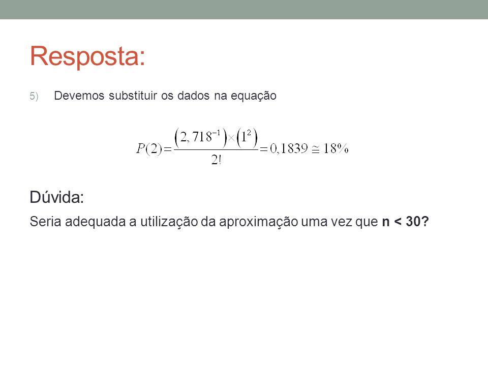 Resposta: 5) Devemos substituir os dados na equação Dúvida: Seria adequada a utilização da aproximação uma vez que n < 30?