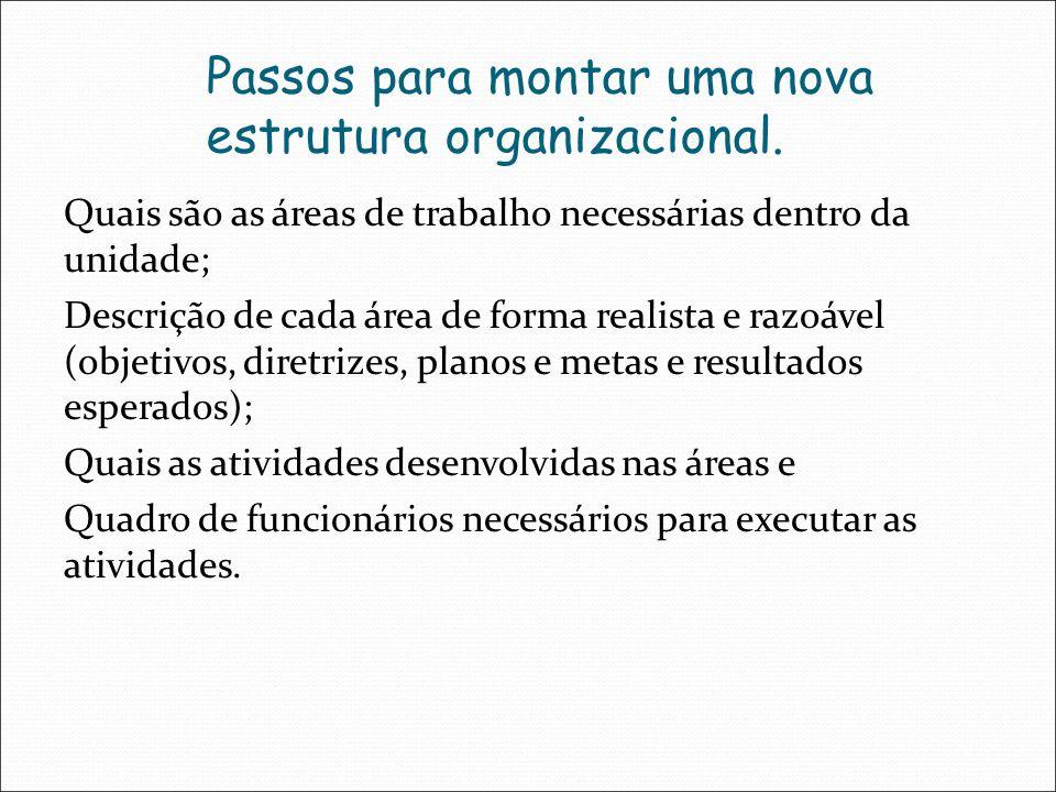 Passos para montar uma nova estrutura organizacional. Quais são as áreas de trabalho necessárias dentro da unidade; Descrição de cada área de forma re