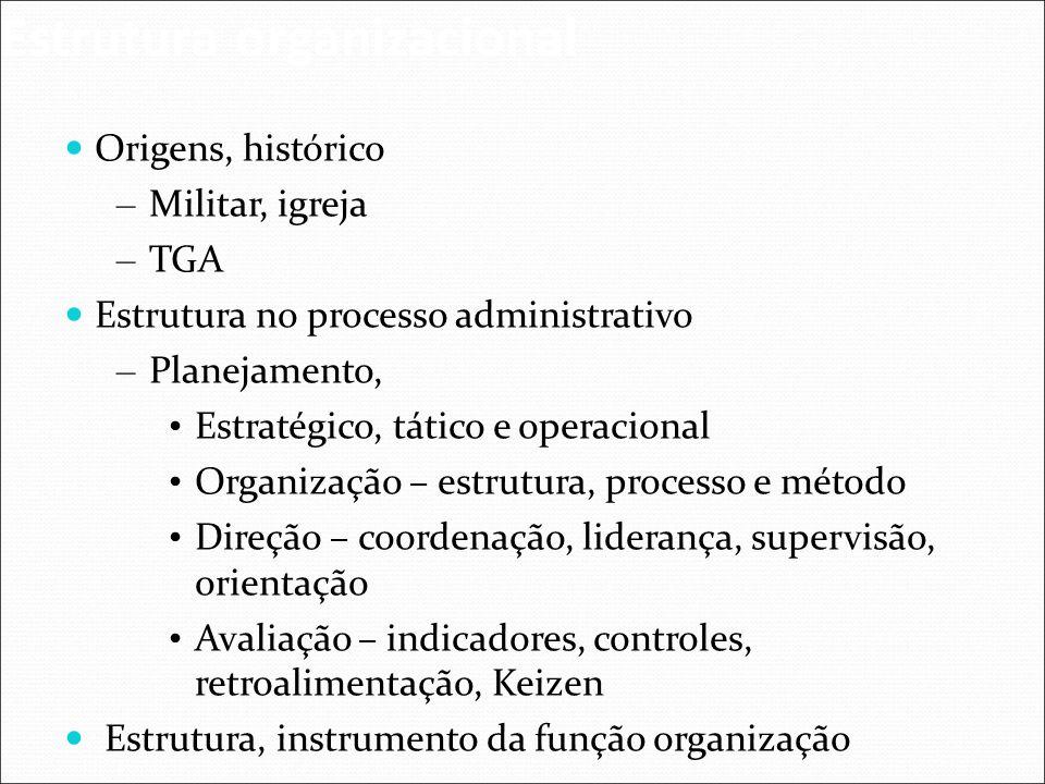Origens, histórico – Militar, igreja – TGA Estrutura no processo administrativo – Planejamento, Estratégico, tático e operacional Organização – estrut