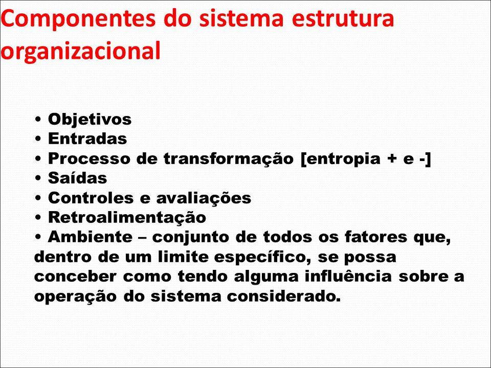 Componentes do sistema estrutura organizacional Objetivos Entradas Processo de transformação [entropia + e -] Saídas Controles e avaliações Retroalime